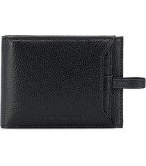 emporio armani textured leather wallet & card holder - black