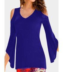 blue plain cold shoulder flared long sleeves t-shirt