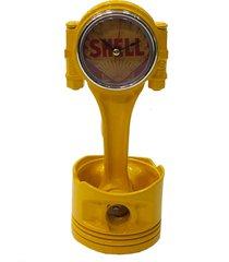 relógio decorativo artesanal mesa metal retro pistão amarelo