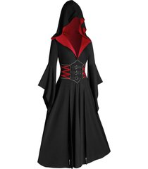 plus size halloween hooded bell sleeve slit buckle gothic coat