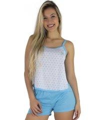 pijama mvb modas adulto blusinha alça short curto azul