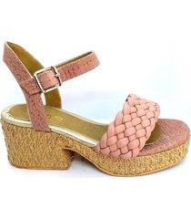 sandalia de cuero rosa calabria rosita