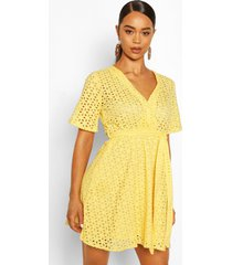 broderie wrap kimono sleeve belted skater dress, yellow