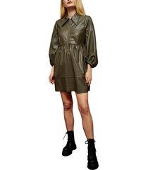 women's topshop oversize zip through faux leather dress, size 2 us - green