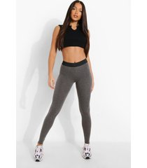 tall leggings met contrasterende taille band, charcoal
