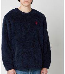 polo ralph lauren men's curly sherpa sweatshirt - cruise navy - xxl