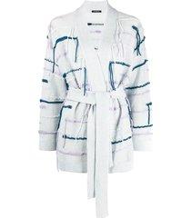 canessa fringe-trimmed belted cardi-coat - blue