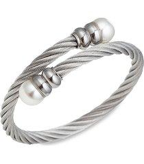 eye candy la women's luxe collection titanium & faux pearl cuff bracelet