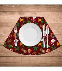 jogo americano para mesa redonda wevans elementos natalinos kit com 4 pçs