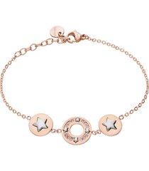 bracciale in acciaio rosato e strass con stelle per donna