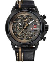 reloj lujo hombres cuarzo naviforce 9110 negro amarillo