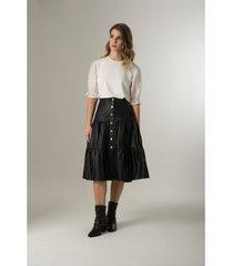 falda largo midi de cuero para mujer recogidos