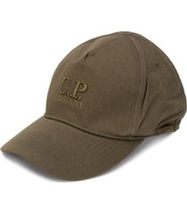 c.p. company embroidered-logo cotton cap - green