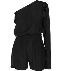 rick owens black silk blend jumpsuit