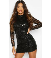 boutique sequin and mesh bodycon dress, black