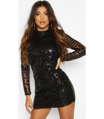 boutique sequin and mesh bodycon dress, black