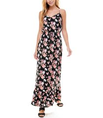 kingston grey juniors' v-neck printed maxi dress