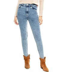 high waist skinny jeans tono medio efecto frosted color blue
