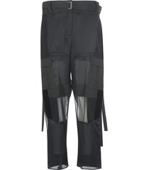 sacai exposed knee belted trousers