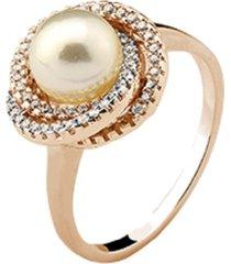 anel elos triplos cravejados cristais zircônias com pérola banhado a ouro rosé