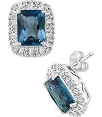 effy london blue topaz (5-1/2 ct. t.w.) & diamond (5/8 ct. t.w.) halo stud earrings in 14k white gold