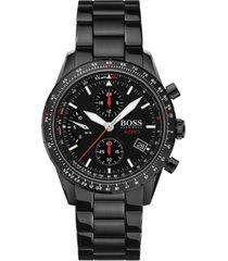 boss men's chronograph aero black stainless steel bracelet watch 44mm