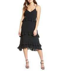 women's row a tiered high/low dress, size x-small - black