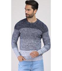 suéter masculino degradê listrado em tricô gola careca cinza mescla escuro