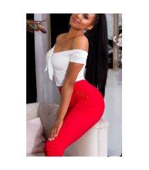 trendy capri-driekwarts leggings met decoratieve knopen rood