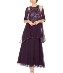 j kara embellished a-line gown and scarf