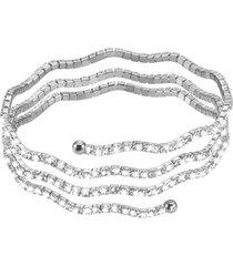 bracciale bangle triplo in metallo rodiato e cristalli per donna