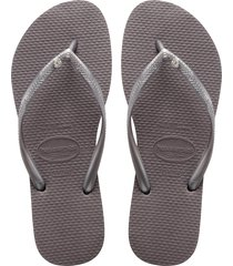 women's havaianas 'slim crystal glamour' flip flop, size 41/42 br - grey
