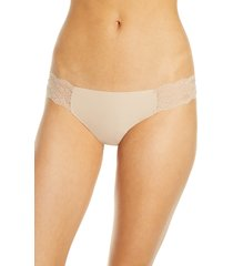 women's b.temptd by wacoal b.bare thong, size small - beige