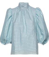 birgitte, 864 gingham poly blus långärmad blå stine goya