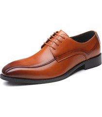 hombres zapatos de vestir de negocios zapatos oxfords con cordones formales