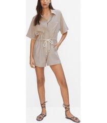 mango women's belt linen jumpsuit