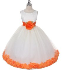 ivory dress orange sash and flower petals bridesmaid pageant flower girl dress