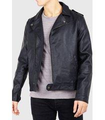 chaqueta brave soul biker negro - calce regular