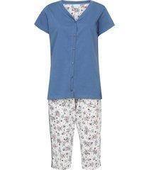 pijama pzama floral azul/off-white - azul - feminino - algodã£o - dafiti