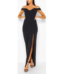 off shoulder maxi dress, navy