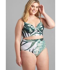 lane bryant women's longline underwire balconette swim bikini top 42d grand palms