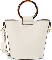 ring faux leather bucket bag