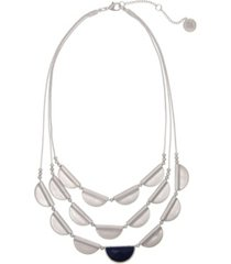 the sak silver-tone castings and blue stone accent 3 row necklace