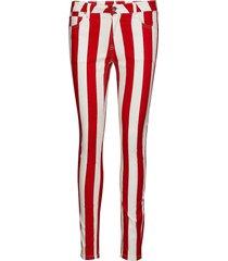 mid rise skinny stripe pant smala byxor stuprör röd calvin klein jeans