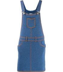 barrie denim pinafore dress - blue