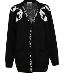 givenchy black wool-viscose blend cardigan
