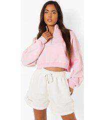 ingekorte oversized sweater met naad detail en korte rits, light pink