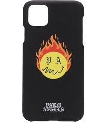 palm angels burning head logo iphone 11 pro max case - black