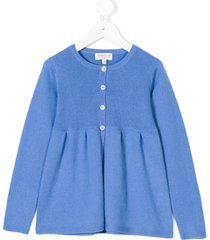 cashmirino pleated hem knitted cardigan - blue