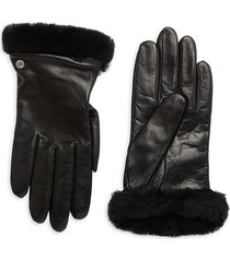 ugg women's shearling-trim leather gloves - black - size m